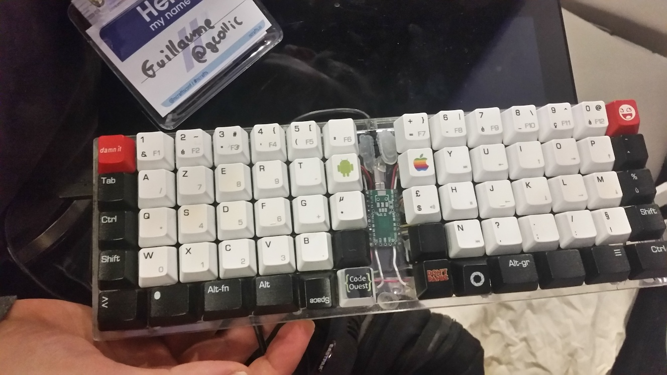 A custom built keyboard - including android, apple and DON'T PANIC keys