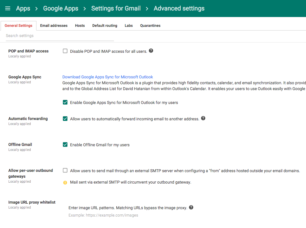 Google Apps configuration screen