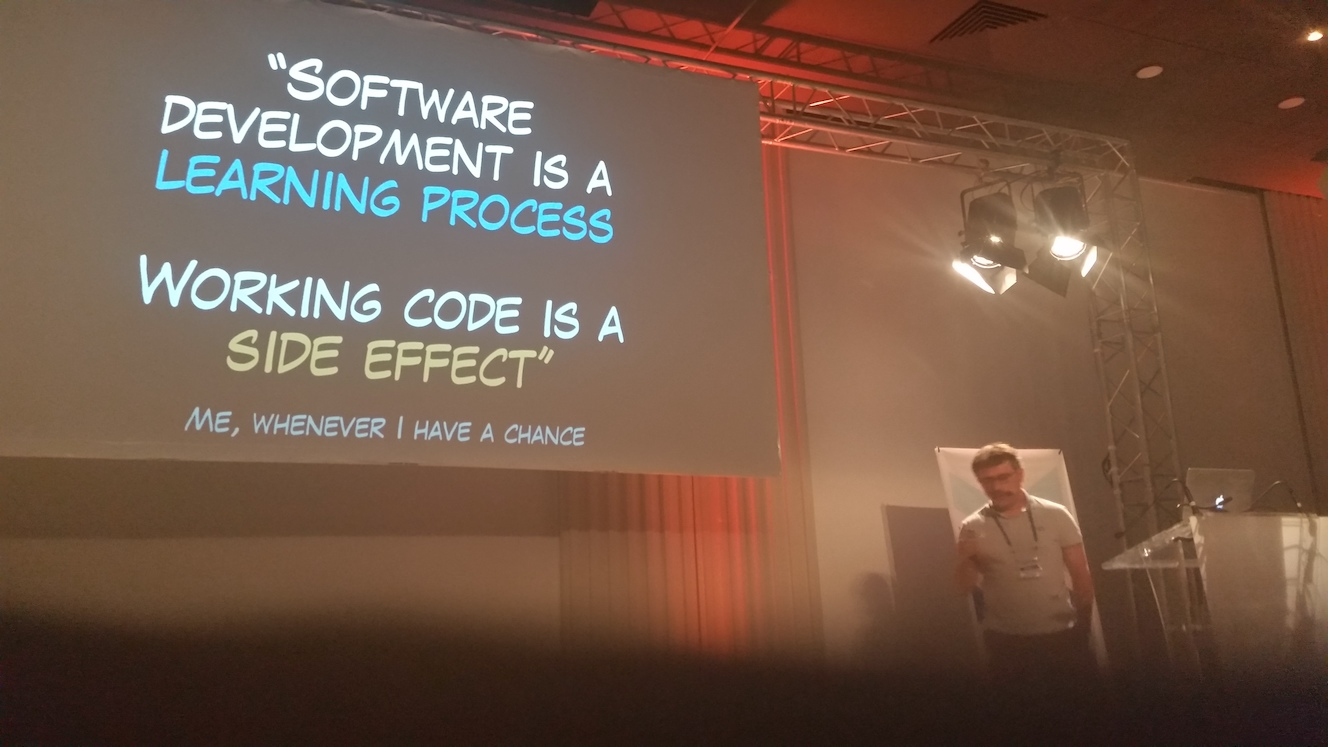 Alberto Brandolini with his quote: 'Software Development is a learning process. Working code is a side effect.'