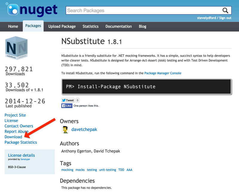 Downloading packages from nuget.org